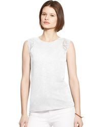 Ralph Lauren Crochet-Trim Top - Lyst
