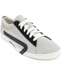 Diesel Rikklub Beige Canvas Sneakers - Lyst