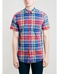 Topman Red Check Short Sleeve Casual Shirt - Lyst