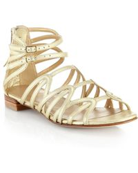 Stuart Weitzman Metallic Leather Gladiator Sandals - Lyst