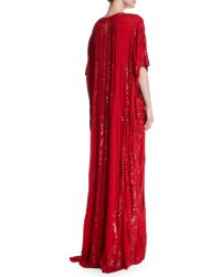 Naeem Khan - Sequined V-neck Silk Caftan - Lyst