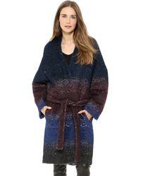 10 Crosby Derek Lam Oversized Belted Coat Indigo Multi - Lyst