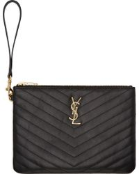 Saint Laurent Black Quilted Leather Monogrammed Wristlet Pouch - Lyst