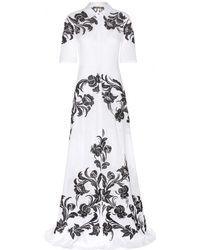 Roberto Cavalli Embroidered Cotton Dress - Lyst