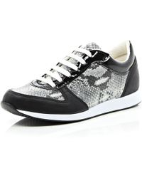 River Island Black Snake Print Lace Up Trainers - Lyst