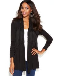 Inc International Concepts Long-sleeve Fringed Open-front Cardigan - Lyst