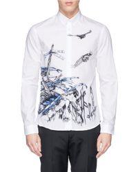 McQ by Alexander McQueen Wreck Print Cotton Poplin Shirt - Lyst