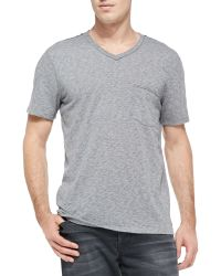 7 For All Mankind Raw-edge V-neck Tee - Lyst