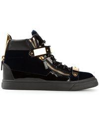 Giuseppe Zanotti Golden Strap Hitop Sneakers - Lyst
