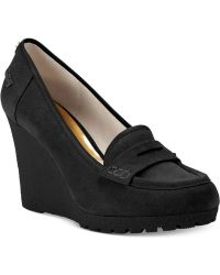 Michael Kors Michael Rory Loafer Wedge Pumps - Black