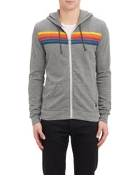 Aviator Nation Multicolor-stripe Applique Zip-up Hoodie - Lyst