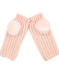 River Island - Light Pink Knitted Pom Pom Hand Warmers Light Pink Knitted Pom Pom Hat - Lyst