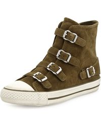 Ash Buckled Suede High-Top Sneaker - Lyst