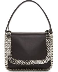 Paco Rabanne Black Buffed Leather Chainmail Shoulder Bag - Lyst