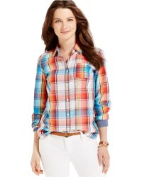Tommy Hilfiger Rainbow Plaid Button-Down Shirt white - Lyst