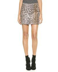 Milly Cheetah Mini Skirt - Beige - Lyst