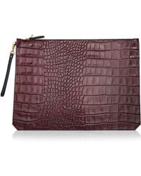 Etienne Aigner - Eva Pouch In Cordovan Croc With Black Pebble Back - Lyst