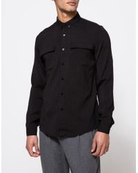 Topman   Ls Black Crepe Military Shirt   Lyst