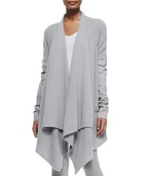 Donna Karan New York Cashmere Cozy Cardigan W Leather Sleeves - Lyst