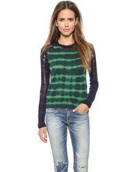 Raquel Allegra Raglan Pullover - Green Stripe - Lyst
