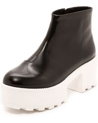 Cheap Monday Tractor High Booties  Blackwhite - Lyst