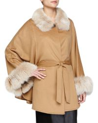 Sofia Cashmere | Belted Cashmere Cape With Fur Collar & Cuffs | Lyst