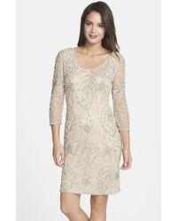 Pisarro Nights Embellished Mesh Sheer Sleeve Dress - Lyst