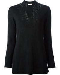 Tory Burch Embellished Split Neckline Sweater - Lyst