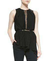 Halston Heritage Asymmetric Jerseylace Sleeveless Top - Lyst