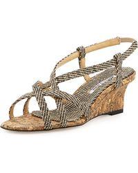 Manolo Blahnik - Scarsowe Woven Cork Wedge Sandal - Lyst