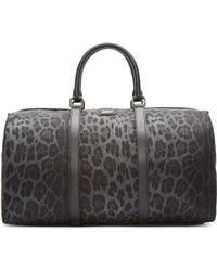Dolce & Gabbana Grey Nylon Leopard Duffle Bag - Black