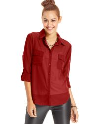 Almost Famous Juniors Sheer Button-down Top - Lyst