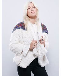 Free People Patched In Pride Fur Co - White