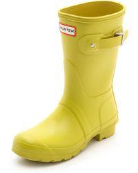Hunter Original Short Boots Yellow Chartreuse - Lyst