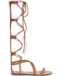 Valentino 'Rockstud' Gladiator Leather Sandals brown - Lyst