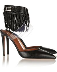 Valentino Fringed Textured-Leather And Pvc Pumps - Lyst