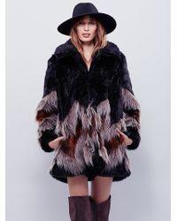 Free People Womens Chevron Fur Co - Black