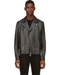 Costume National Gray Leather Biker Jacket - Lyst
