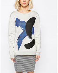 Selected Sweat Top With Brush Stroke Print - Lyst