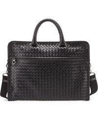 Bottega Veneta Soft Woven Leather Computer Bag - Lyst
