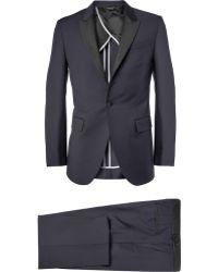 Paul Smith 'soho' Repp Trim Dot Dobby Tuxedo Suit - Blue