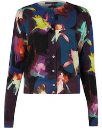 Paul Smith Black Label Purple Floral Print Cardigan - Lyst