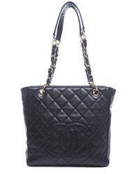 Chanel Black Caviar Pst Petite Shopping Tote Bag - Lyst