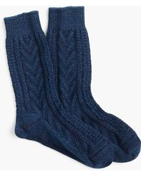 J.Crew | Anonymous Ism Indigo Cable-knit Crew Socks | Lyst