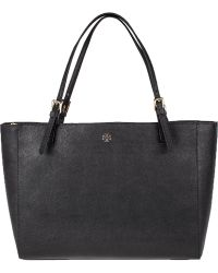 Tory Burch York Buckled Tote Black Leather black - Lyst