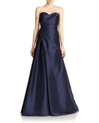 ML Monique Lhuillier Draped Strapless Gown - Lyst