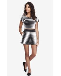Express 2 12 Inch High Waisted Striped Double Knit Shorts - Lyst
