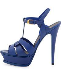 Saint Laurent Tribute Leather Platform Sandal Blue - Lyst