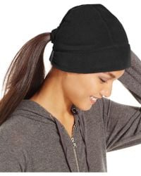 Style & Co. Style&co. Fleece Hat With Ponytail Loop - Black