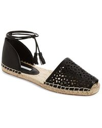 Lanvin Flat Espadrille Sandals With Bows In Black Lyst